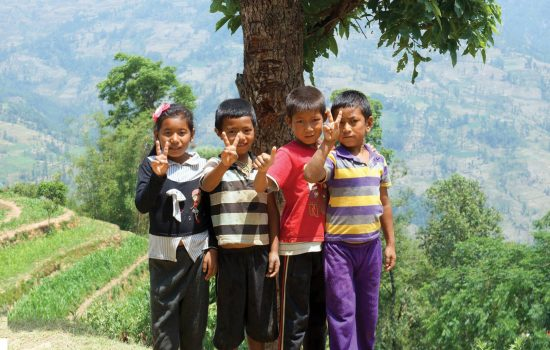 Children receiving education following Nepal earthquake disaster Childreach International