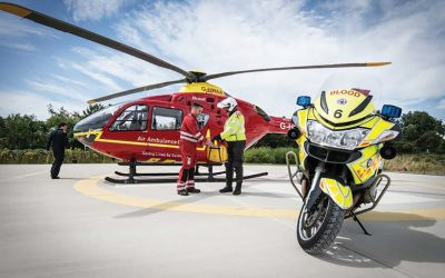 Blood Bike rider collects medical and health supplies