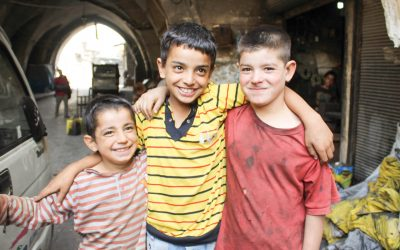 Children being helped by the charity, hand in hand for Syria
