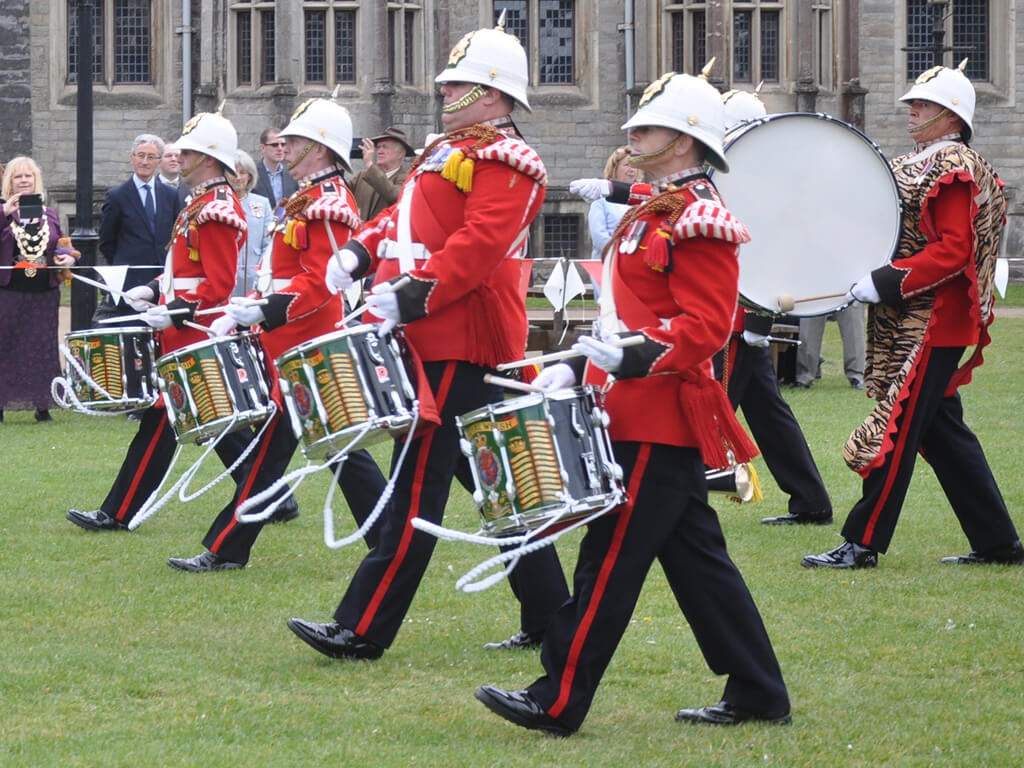 Beating Retreat kicks of Wales Rotary Centenary