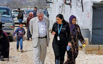 Unicef Ambassador Martin Bell visits refugee camp in Lebanon