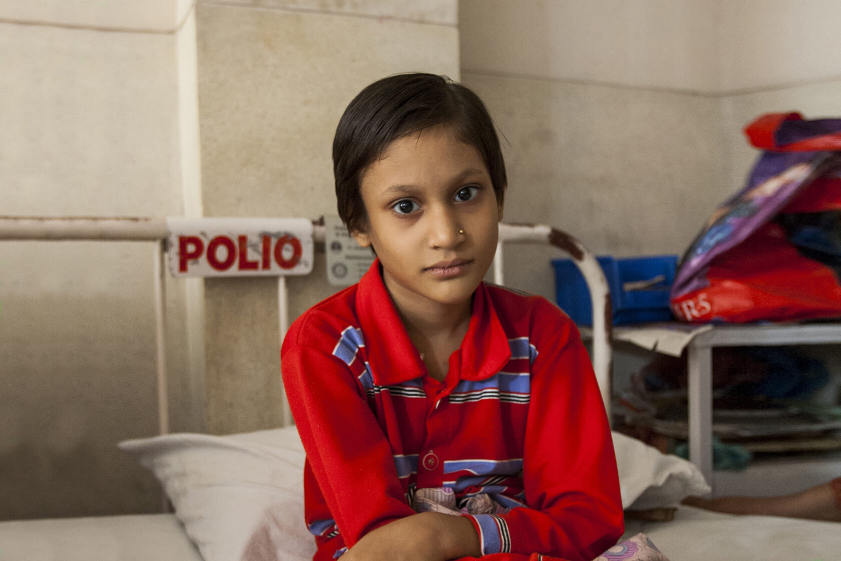 Young girl in hospital after contracting polio our causes End Polio Now