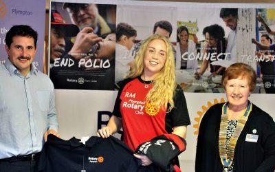 plympton rotary sponsors rugby player rachel