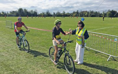 rotary cycling competition on grassy field