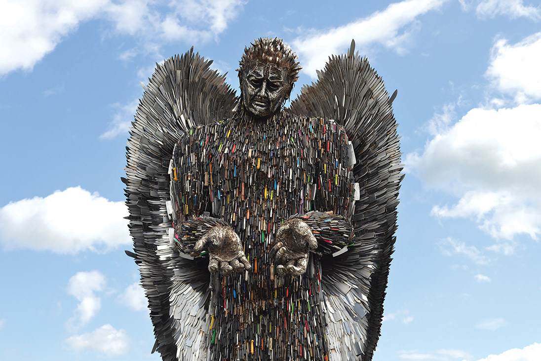 knife angel british ironworks centre rotary peace award