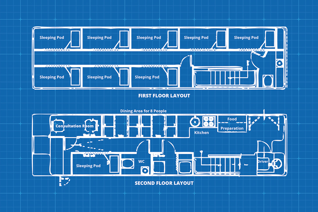 rotary shelter bus supporting homeless floor plan