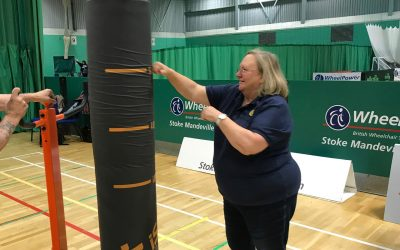 debbie hodge punchbag wheelpower equipment thanks to rotary