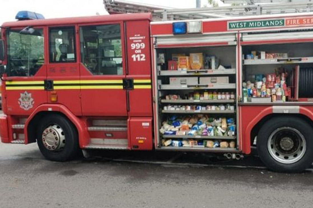 fire engine stocked with food supplies for foodbank