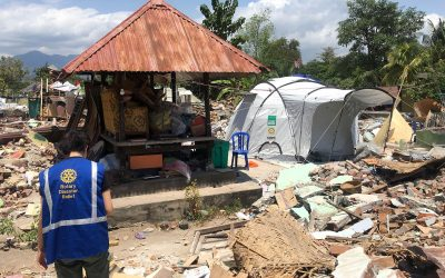 rotary disaster relief volunteer shelterbox tent indonesia earthquake