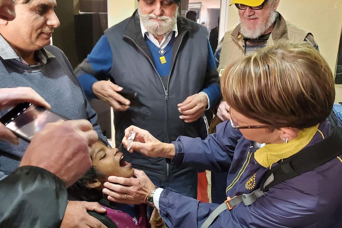 child taking vaccination