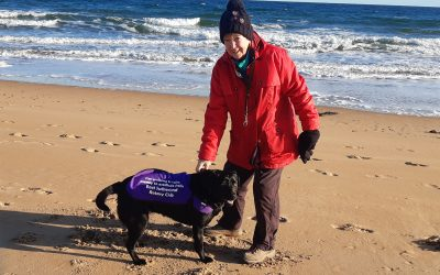 Fiona and Salkie the labrador promoting 'Purple4Polio'
